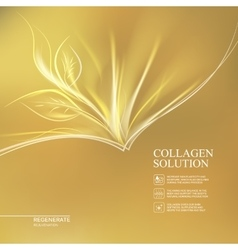Golden background collagen solution vector image