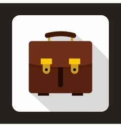 Brown leather briefcase icon flat style vector