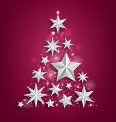 Abstract Garland Made of Silver Stars for Happy vector image