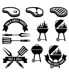 Barbecue party - bbq and grill elements vector image