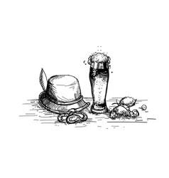 Beer glass sketch mug oktoberfest festival banner vector