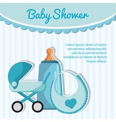 Bottle stroller and baby bib design vector