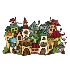 Cartoon fairy tale drawing town vector image vector image