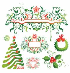 Christmas design elements vector image