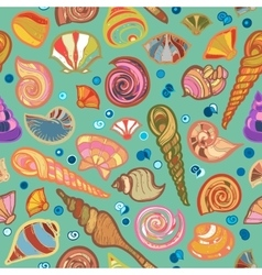 Colorful sketched kid seamless seashell pattern vector image vector image