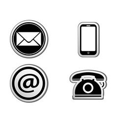 Contact icon buttons set vector image vector image