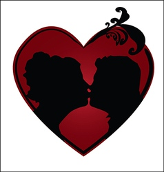 Couple kissing in a heart vector image vector image