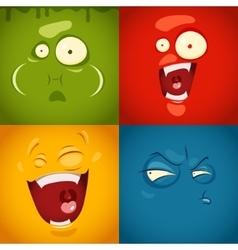 Cute cartoon emotions fear disgust laugh vector