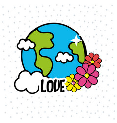 Earth planet with cloud and flowers vector