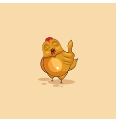 Emoji character cartoon hen approves with thumb up vector
