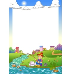 Fishing boy frame vector