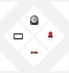 Flat icon device set of resistance mainframe vector