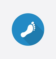 footprint Flat Blue Simple Icon with long shadow vector image vector image