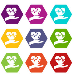 hand holding heart with ecg line icon set color vector image
