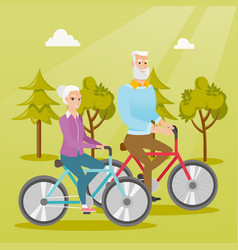 Happy senior couple riding on bicycles in park vector