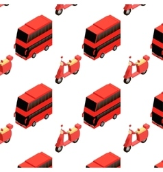 Isometric bus and moped seamless pattern vector
