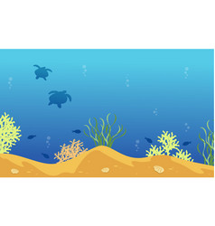Landscape of turtle and fish silhouettes on vector