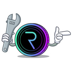 Mechanic request network coin mascot cartoon vector
