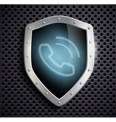 Metal shield with the image of the handset vector