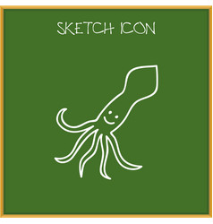 Of zoo symbol on squid doodle vector