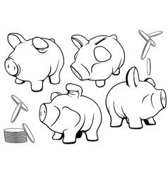 Piggy Bank Set vector image