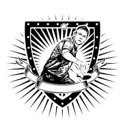 ping pong shield vector image vector image