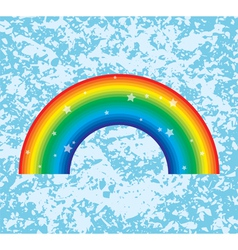 rainbow on grunge background vector image
