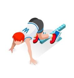 Running starting line kids 2016 sports isometric vector