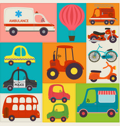 Seamless pattern with fun transports vector