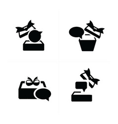 Set black gift and bubble talk icons topview vector