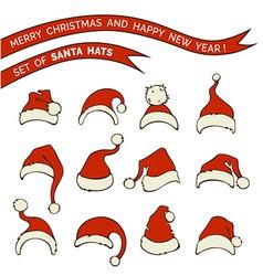 Set of santa hats vector