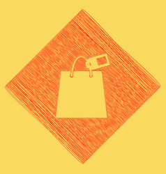 Shopping bag sign with tag red scribble vector