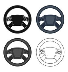 Steering wheel single icon in cartoonoutline vector