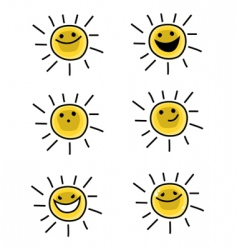sun characters vector image vector image