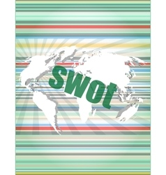 Swot word on touch screen modern virtual vector