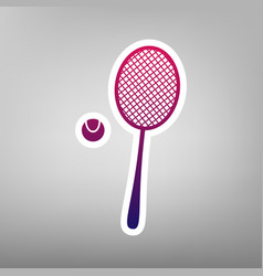 Tennis racquet with ball sign purple vector