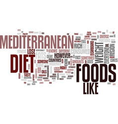 The mediterranean diet full flavored foods help vector