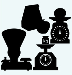 Weight scale weight apple and Paper bag vector image vector image