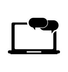 Laptop frontview and conversation bubble icon vector