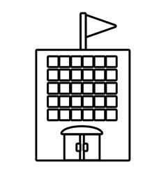 Building school classroom student outline vector