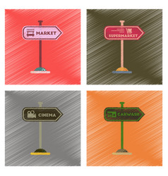 Assembly flat shading style icons sign of market vector