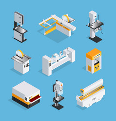 Modern woodworking machinery isometric set vector