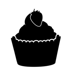 Delicious cupcake with strawberry isolated icon vector