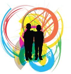 Little kids vector image