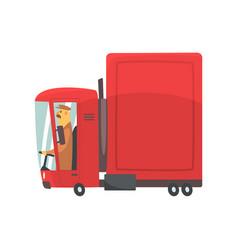 Red cartoon semi truck cargo transport vector