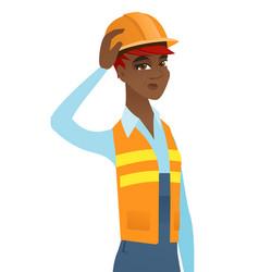 Young african-american builder scratching head vector