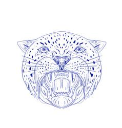 Angry jaguar head drawing vector