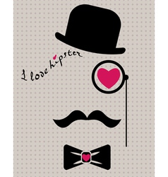 hipster in bowler hat with heart vector image