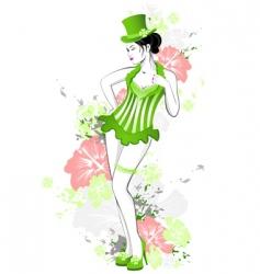 beautiful girl in green dress vector image