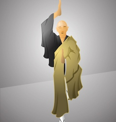 Buddhist monk exercising balance vector